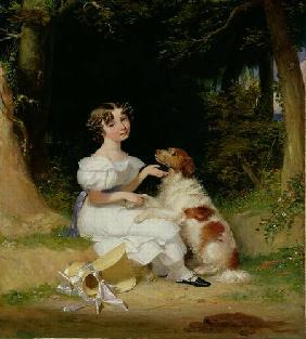 A Young Girl with Her Spaniel