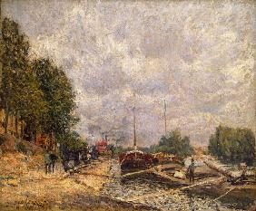 Sisley, Alfred : Barges at Billancourt