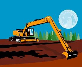 Excavator with moon in the background
