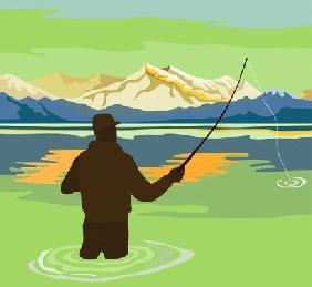 Fishing in the lake with mountains
