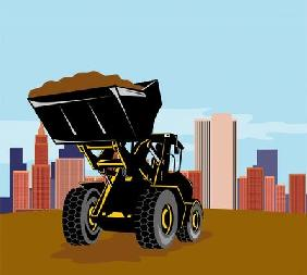 Loader with buildings in the background