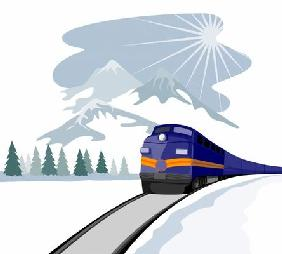Train traveling in the winter