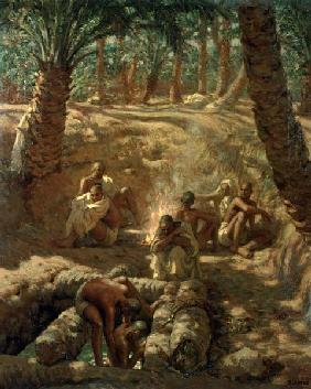 Berbers at an Oasis Well (oil on canvas)