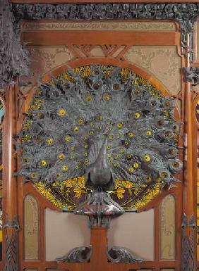 A peacock,  from the central panel of a mural from the Fouquet jewellers in Paris