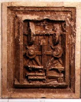 Plaque depicting a winch