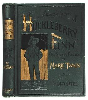 Cover of ''Adventures of Huckleberry Finn'' Mark Twain (1835-1910) first American edition, published