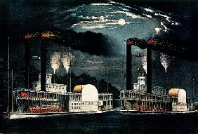 Midnight Race on the Mississippi, published by  Currier and Ives