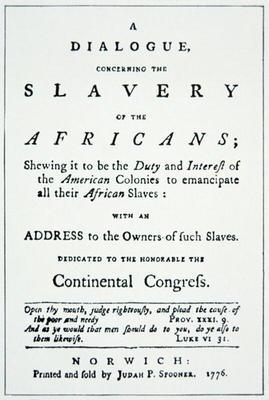 Title page of a pamphlet calling for the emancipation of African slaves, 1776 (print)