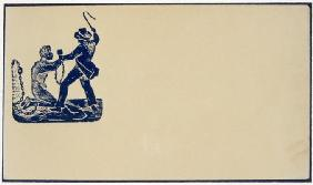 Abolitionist emblem depicting a slave owner thrashing his slave, c.1860 (wood engraving vignette)