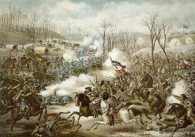 Battle of Pea Ridge, Arkansas, 6th-8th March, engraved by Kurz & Allison (colour litho)