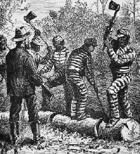 Black convicts on a chain-gang at work in Georgia (engraving)