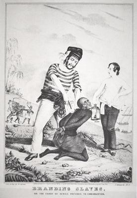 Branding slaves on the coast of Africa, prior to embarkation, 1845 (litho)