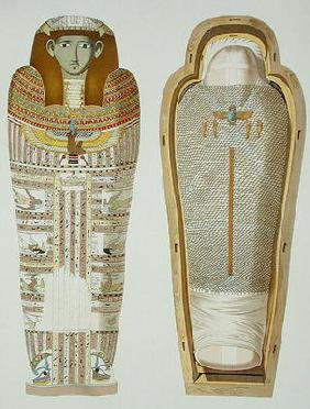 Case and mummy in its cerements from Gizeh, Volume II, plate XXVI from 'Ancient Egypt' by Samuel Aug