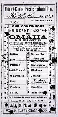 Cheap emigrant ticket to San Francisco, 1876 (print)