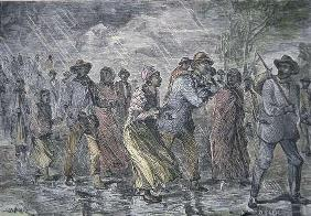 Fugitive slaves fleeing from the Maryland coast to an Underground Railroad depot in Delaware, 1850 (