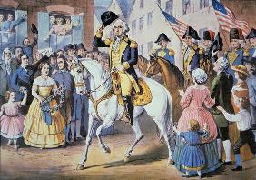 George Washington enters New York City 25 November, 1783 after the evacuation of British forces (col