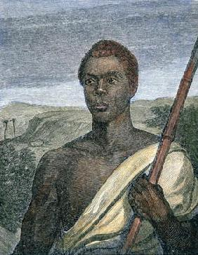 Joseph Cinque (c.1813-79) the slave rebel (coloured engraving)