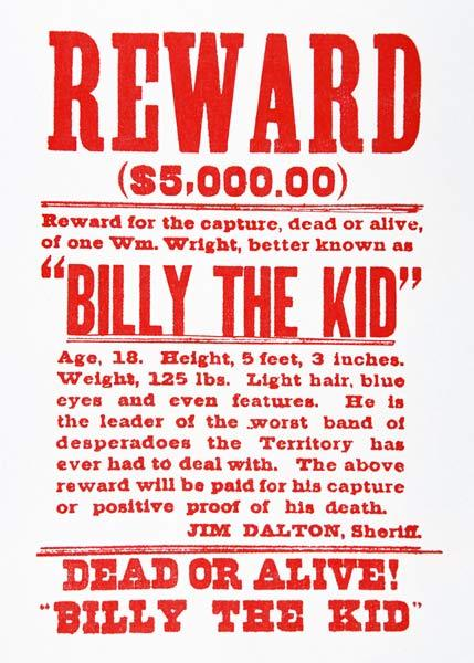 Reward Poster for Billy th...