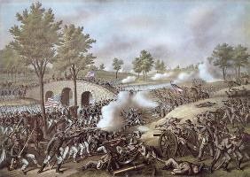 The Battle of Antietam, 1862, by Kurz & Allison (colour litho)