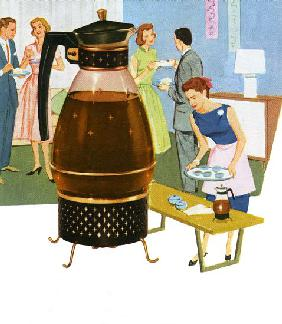 Coffee Carafe with 1950s Housewife Serving Coffee