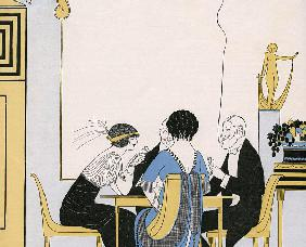 Elegant Couples Playing a Card Game