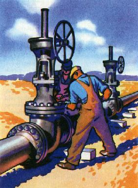 Oil Series: Workers at a Pipeline
