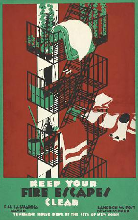 Vintage Poster of a New York City Fire Escape