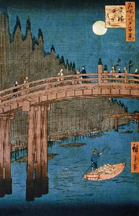 Kyoto bridge moonlight, from the series ''100 Views of Famous Place in Edo'', pub. 1855
