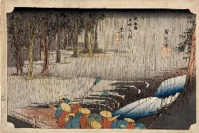 Tsuchiyama - Spring Rain (from the Fifty-Three Stations of the Tokaido Highway)