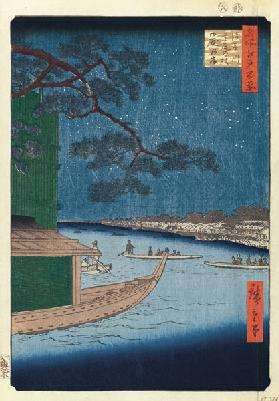 "The ""Pine of Success"" and Oumayagashi on the Asakusa River (One Hundred Famous Views of Edo)"