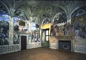 The Camera degli Sposi or Camera Picta with scenes from the court of Mantua, showing the Marchese Lu