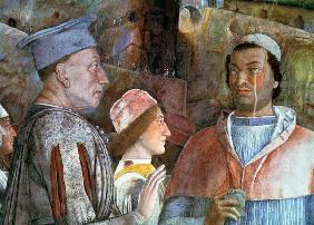 Marchese Ludovico Gonzaga III of Mantua (reigned 1444-78) greeting his son Cardinal Francesco Gonzag
