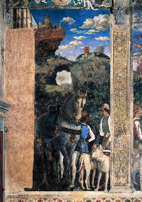Horse and groom with hunting dogs, from the Camera degli Sposi or Camera Picta