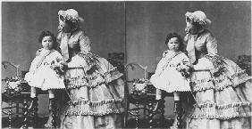 Empress Eugenie and Prince Eugene Louis Napoleon Bonaparte, c.1858-59 (stereoscopic photo) (b/w phot