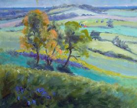 Towards Winchelsea, Sussex, with Bluebells in Spring (oil on canvas)