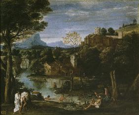 Landscape with river and bathers
