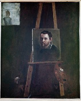 Self portrait mounted on an easel