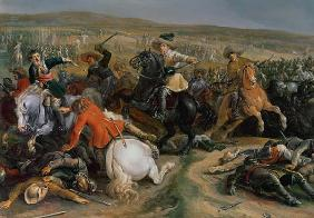 Gustavus II Adolphus, King of Sweden (1595-1632) leading a cavalry charge at the Battle of Lutzen