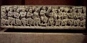 Christ seated and teaching surrounded by the Apostles, marble christian sarcophagus, acquired from t