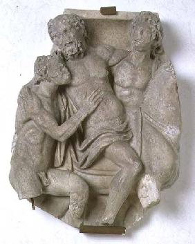 Fragment from a sarcophagus depicting Dionysus and Ariadne in a chariotRoman