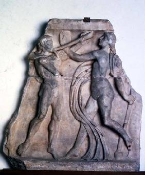 Fragment of a sarcophagus with a youth and a bacchanteRoman