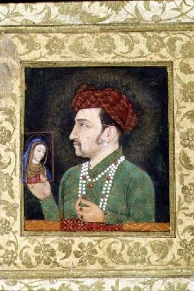 Jahangir holding a picture of the Madonna