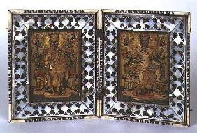 Madonna and Child and Christ Enthroned Byzantine icon with mother-of-pearl and tortoiseshell frame