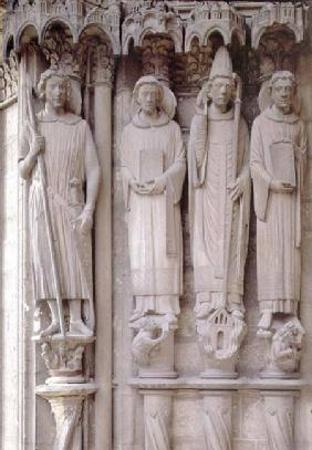 Four martyr saintscolumn figures from the west door of the south portal