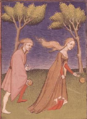 Melanion races against Atalanta, casting the golden apples given to him by Aphrodite to distract her