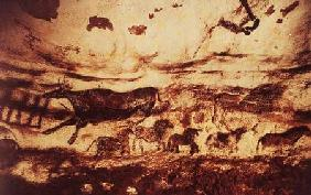 Rock painting of a leaping cow and a frieze of small horses