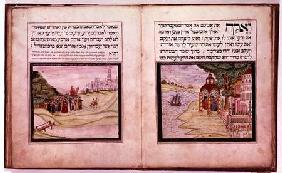 Sloane MS 3173 The Banishment of Hagar and Ishmael and the Appearance of the Three Angels to Abraham