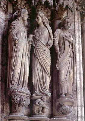 The Visitationcolumn statues from the east portal (Adoration doorway) of the north transept