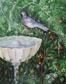 Wall painting of a dove in a garden by a fountain