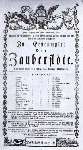 Poster advertising the premiere of 'The Magic Flute' by Wolfgang Amadeus Mozart at the Freihaustheat 1791